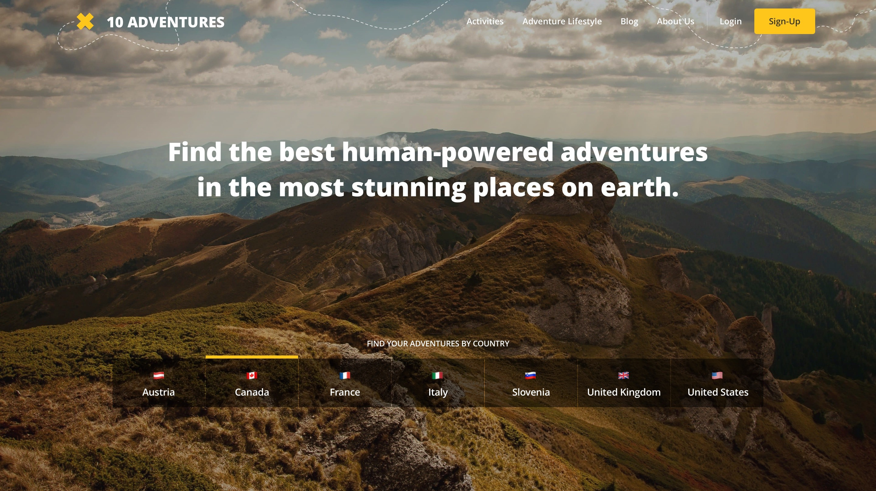 10 adventures home page