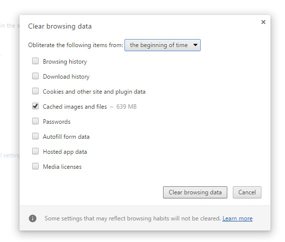 Chrome Clear browsing data